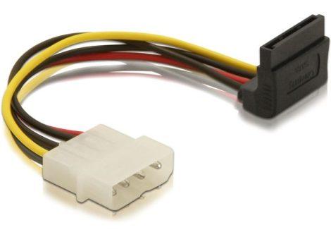 Delock táp kábel, SATA - Molex átalakító kábel 90 fok (60104)