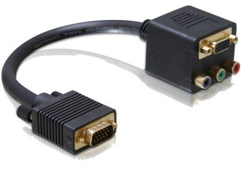 Delock adapter VGA dugó - VGA és Komponens (3xRCA) aljzat (aranyozott) (65059)