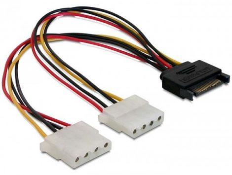 Delock 15 tűs SATA (apa) - 2 db 4 tűs Molex (anya), 20 cm-es hálózati kábel (65159)