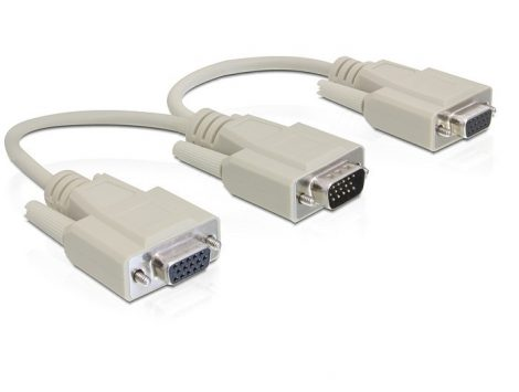 Delock VGA apa > 2 x VGA anya adapter, 20 cm (65328)
