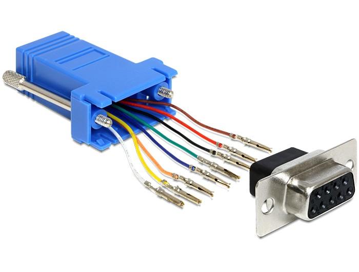 Delock adapter RS232 DB9 anya - RJ45 anya, szerelő készlet