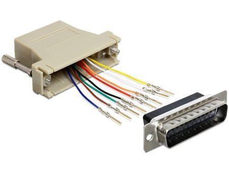 Delock adapter DB25 anya - RJ45 anya, szerelő készlet (65433)