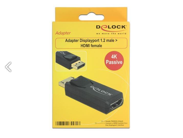 Delock DisplayPort apa 1.2 - HDMI anya 4K adapter, fekete (65571)
