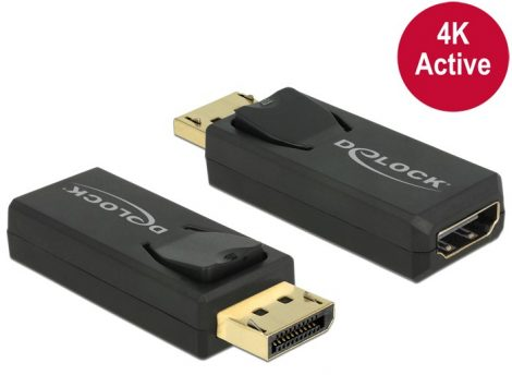 Delock DisplayPort apa 1.2 - HDMI anya 4K aktív adapter, fekete (65573)