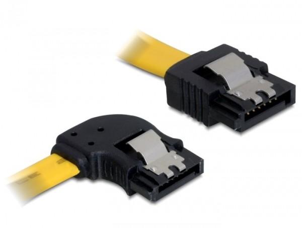Delock SATA sárga, bal/egyenes csatl. (fémlappal), 50 cm-es összekötő kábel (82493)
