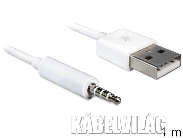 Delock USB 2.0 apa - sztereó JACK 3.5 apa 4tűs IPOD kábel, 1m (83182)