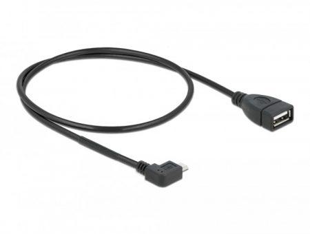 Delock micro USB apa - USB 2.0 A anya OTG kábel 0.5m hajlított