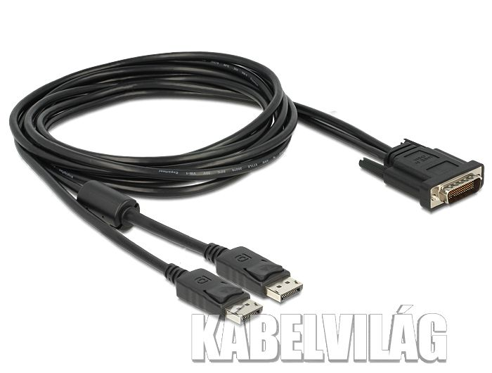 Delock DMS-59 apa - 2 x Displayport apa kábel, 2m (83507)