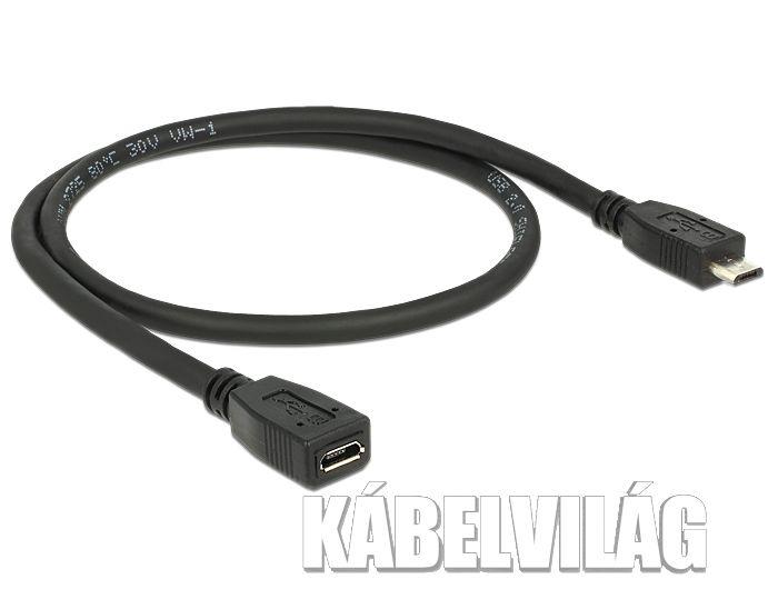 Delock micro USB 2.0 hosszabbító kábel 0.5m (83567)