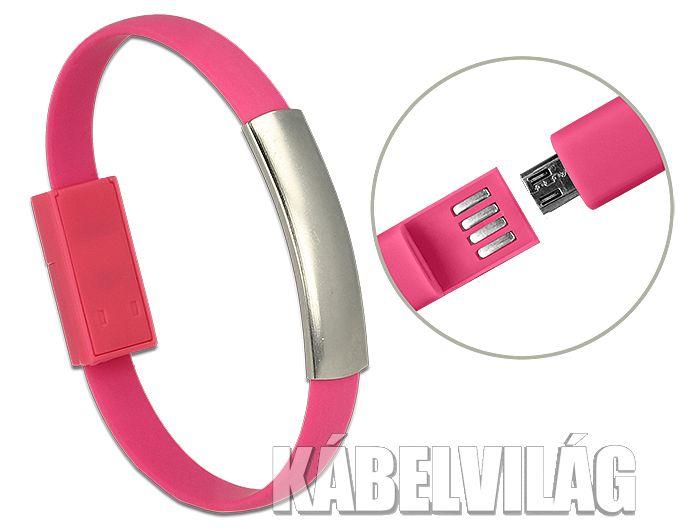 Delock micro USB karkötő 22cm, rózsaszín (83946)