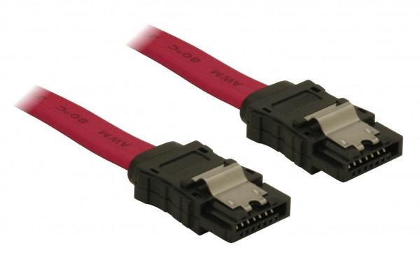 Delock SATA piros, egyenes/egyenes csatl. (fémlappal), 50 cm-es összekötő kábel (84302)