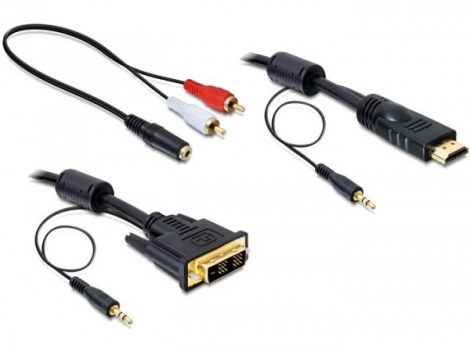 Delock HDMI - DVI kábel +Audio (Jack 3,5mm) 2m (84455)