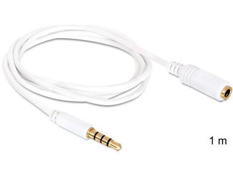 Delock Jack 3.5 mm 4 pin hosszabbító kábel 1m fehér (84480)
