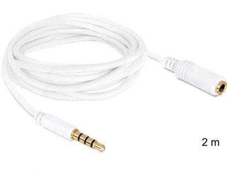 Delock audio sztereo Jack 3.5 mm apa / anya IPhone 4 pin kábel, 2 m (84482)