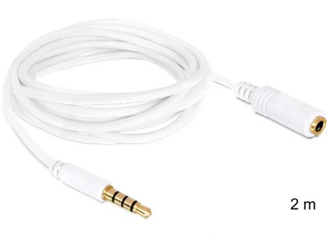 Delock audio sztereo Jack 3.5 mm apa / anya IPhone 4 pin kábel, 2m (84482)