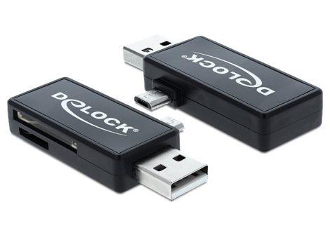 Delock Micro USB OTG kártyaolvasó + USB A apa (91731)