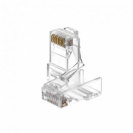 Netrack RJ45 UTP Cat6e csatlakozó dugó tömör kábelhez, 100db (105-56)