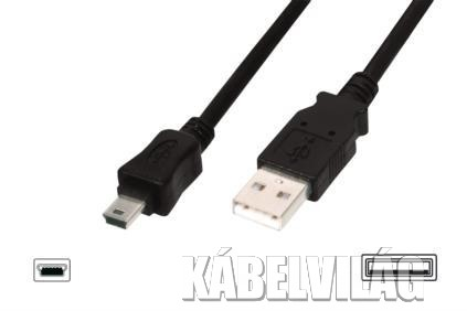 Connection USB 2.0 AM - miniUSB kábel 1m (AK-300130-010-S)