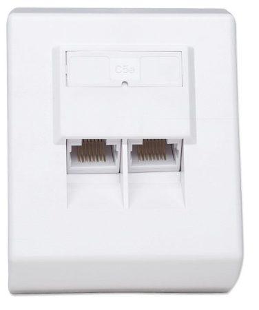 Intellinet CAT5e falra szerelhető aljzat 2xRJ45 fehér