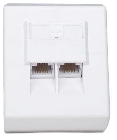 Intellinet CAT5e falra szerelhető aljzat 2xRJ45 fehér (408301)