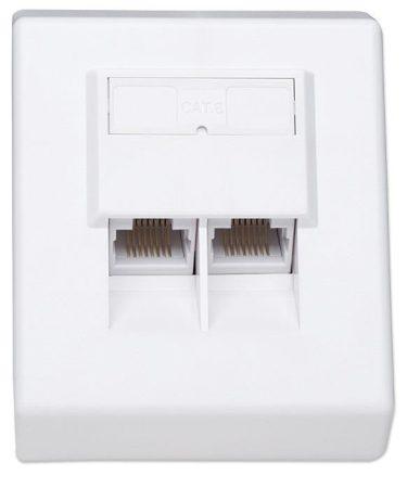 Intellinet CAT6 falra szerelhető aljzat 2xRJ45 fehér