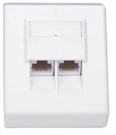 Intellinet CAT6 falra szerelhető aljzat 2xRJ45 fehér (408394)