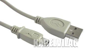 Gembird USB 2.0 AM - mini kábel 1.8m, szürke (CC-USB2-AM5P-6)