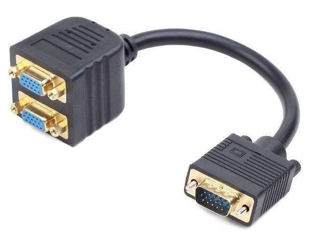 Gembird adapter VGA dugó - 2x VGA aljzat (aranyozott)