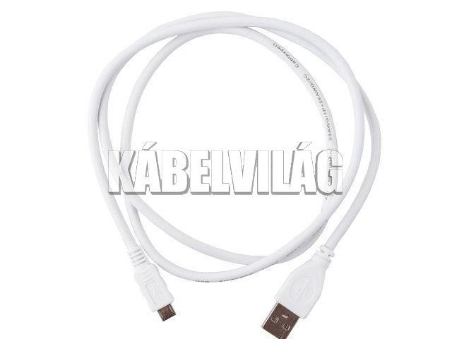 Gembird micro USB kábel 0.5m fehér