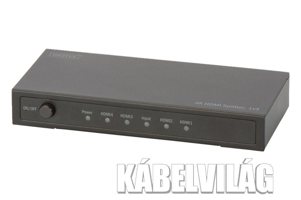 DIGITUS 4 portos HDMI UltraHD 4K elosztó szétosztó (DS-47304)