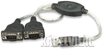 Manhattan USB - 2x RS232 (COM) átalakító kábel 0.45m