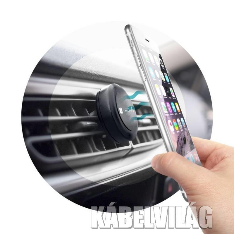 Techly mágneses autós tartó szellőzőrostélyra okostelefonokhoz (022298)
