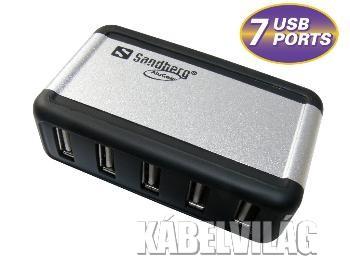 Sandberg aktív USB 2.0 HUB 7 port, 230V táppal (135-59)