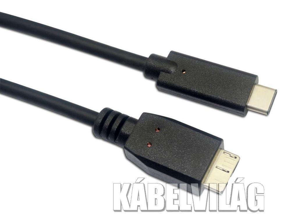 Sandberg USB-C 3.1 apa - USB-B micro 3.0 apa, kábel, 1m (136-07)