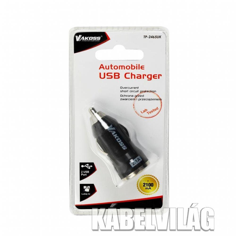 VAKOSS USB autós töltő 12/24V adapter 2.1A (TP-2465UK)