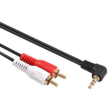 Maclean Jack hajlított fejű 90° to 2 RCA kábel 1m fekete (MCTV-824)