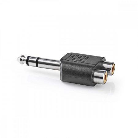 Nedis 6.35mm sztereó dugó - 2 RCA aljzat adapter (CAGP23945BK)