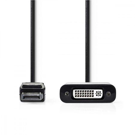 Nedis DisplayPort dugó - DVI-D 24 + 1 Pólusú Aljzat kábel 0.2m Fekete (CCGP37250BK02)
