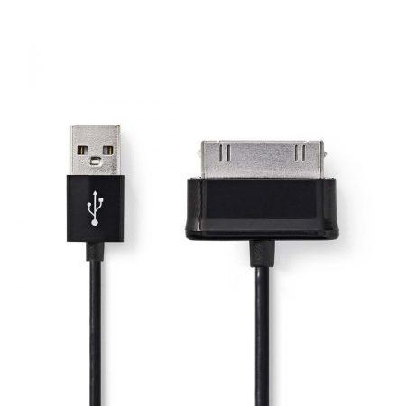 Nedis 30 tűs Samsung dugó - USB A dugó Szinkronizáló- és töltőkábel 1m fekete (CCGP39200BK10)