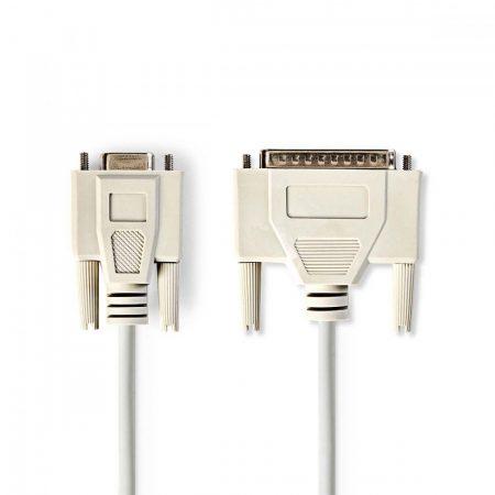 Nedis DB9 aljzat - DB25 dugó Soros kábel 2m szürke (CCGP52131IV20)