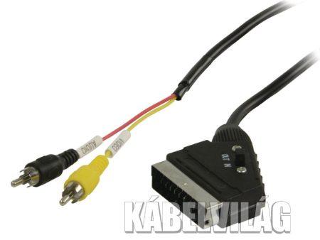 Valueline SCART - 2x RCA kábel kapcsolóval 2m