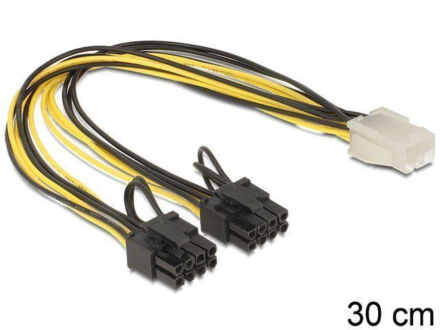 Delock PCI Expressz táp 6 pin anya - 2x 8 pin apa (83433)