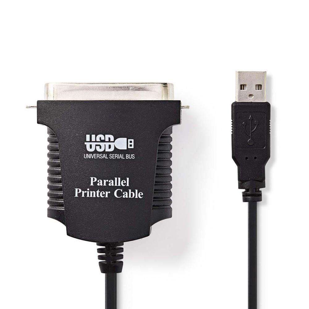 Nedis USB A dugó - Centronics 36 tűs dugó nyomtató kábel 2m Fekete (CCGP60880BK20)